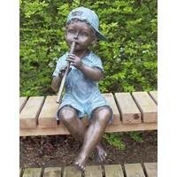 Skulptur Bronze Junge mit Flöte