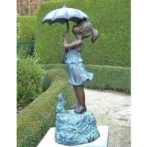 Eliassen Bildbronzemädchen unter Regenschirm