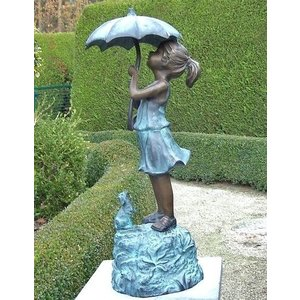 Eliassen Image bronze girl under umbrella