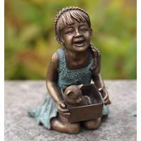 Beeld brons lachend meisje