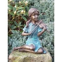 Beeld brons meisje met viooltje