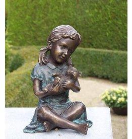 Eliassen Bild-Bronze-Mädchen mit Teddybär