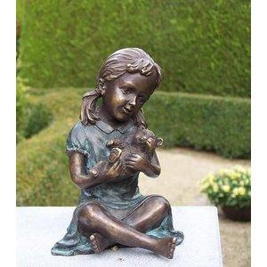 Eliassen Beeld brons meisje met teddybeer
