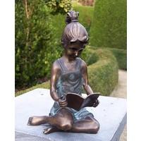 Beeld brons meisje met boekje groot