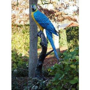 Eliassen Beeld brons blauwe papagaai op boomstronk