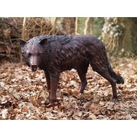 Beeld brons staande wolf