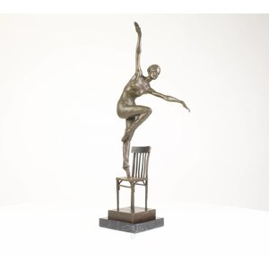 Sculpture bronze Dancer on chair