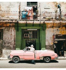 Wandkraft Painting dibond pink car 74x74cm