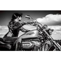 Glasmalerei 80x120cm Frau auf Motor
