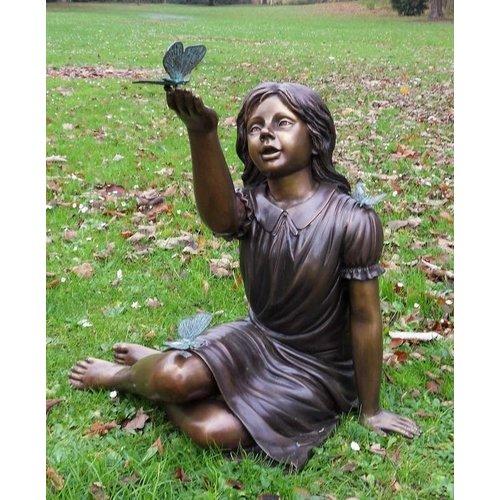 Eliassen Beeld brons meisje met vlinder