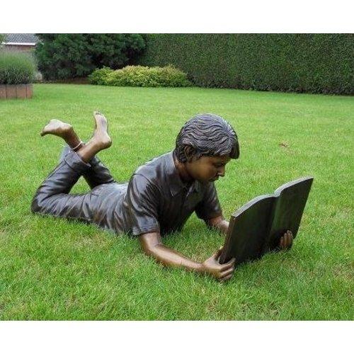 Eliassen Beeld brons liggende lezende jongen