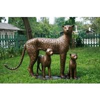 Beeld brons cheeta met jongen