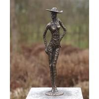 Beeld brons vrouw met hoed
