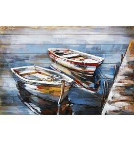 Schilderij 3d metaal-hout Twee boten  80x120cm