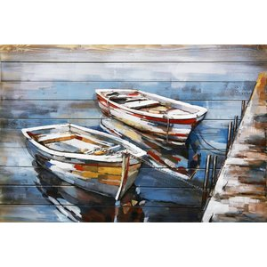Painting 3d metal-wood Two boats 80x120cm