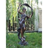 Beeld brons vrouw met vogels
