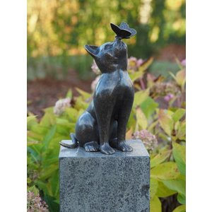 Eliassen Image bronze cat with butterfly
