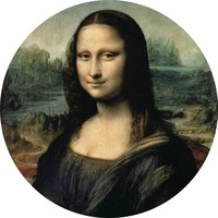 Glass painting around Mona Lisa dia 40cm