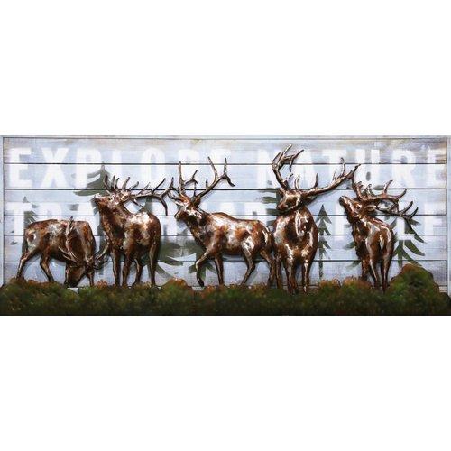 Schilderij 3d metaal-hout Herten 60x150cm
