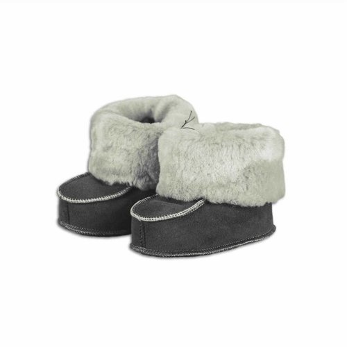 Baby slippers sheepskin gray