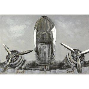 Olieverf schilderij Vliegtuig 124x84cm