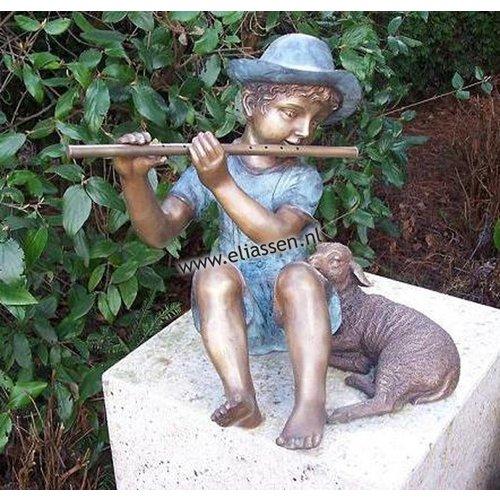 Eliassen Beeld brons fluitspeler met lam