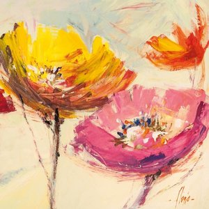 MondiArt Glasschilderij 80x80cm Fleur 1