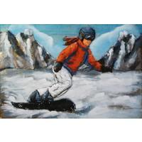 3D schilderij metaal 80x120cm Snowboarder