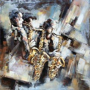 Eliassen Metaal schilderij 100x100cm Saxofoons