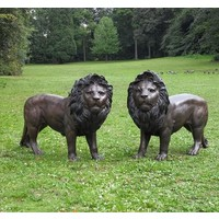 Beelden brons staand leeuwenpaar