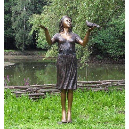 Eliassen Beeld brons vrouw met duif groot