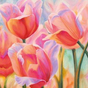 MondiArt Malerei Glas 80x80cm Tulpen1
