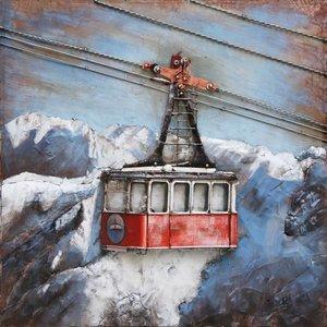 Eliassen 3d schilderij metaal Skilift 100x100cm