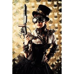 MondiArt Glasschilderij 80x120cm Vrouw met geweer