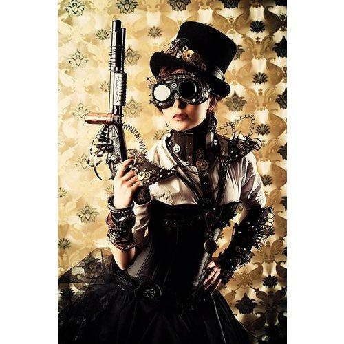 MondiArt Glass painting 80x120cm Woman with gun