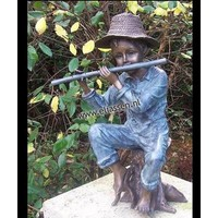 Image bronze boy with flute