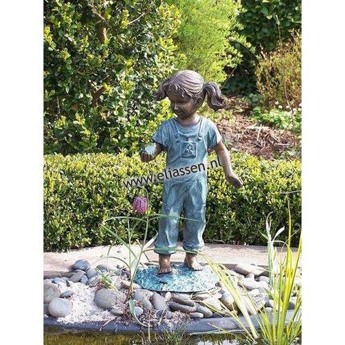 Eliassen Beeld brons meisje met vogel in haar hand
