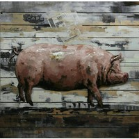 3D painting Metall-Holz Pig groß 80x80cm
