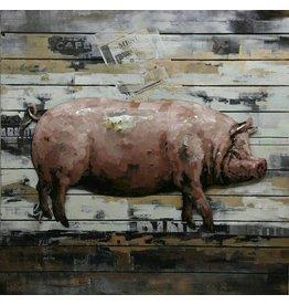 Ter Halle 3d schilderij metaal-hout  Varken groot 80x80cm