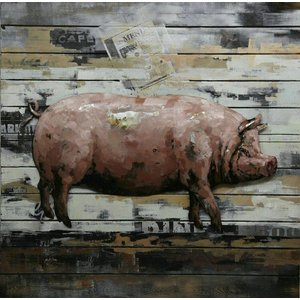 Ter Halle 3d painting metal-wood Pig large 80x80cm