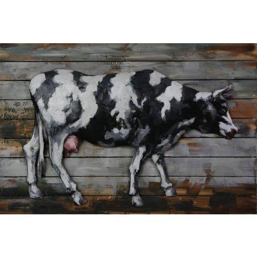 3D-Malerei Metall Holz Kuh groß 80x120cm