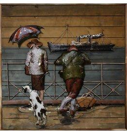 Malerei Metall Holz Ashore 100x100cm