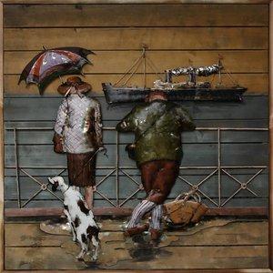 Schilderij metaal-hout Aan Wal 100x100cm
