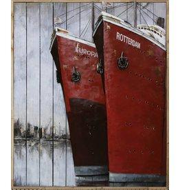 Schilderij metaal-hout 2 Boegen 100x120cm