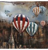 3D-Malerei Eisenballons über NY 100x100cm