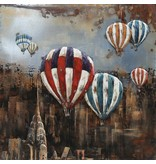 3D schilderij ijzer Ballonnen boven NY 100x100cm