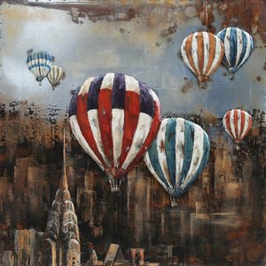 3D painting Iron Balloons above NY 100x100cm