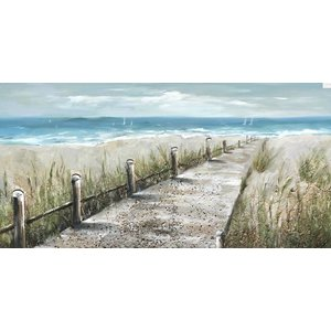 Olieverf schilderij Strandpad 140x70cm
