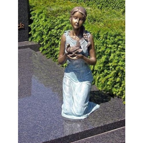 Eliassen Grave image girl with dove bronze in 2 colors