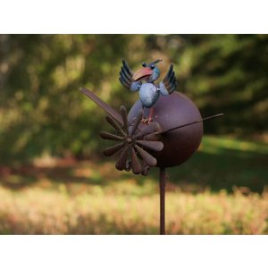 Eliassen Windmill garden lighter with bird